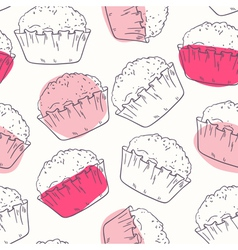 Decorative food seamless pattern with muffins vector image vector image