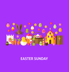 Easter sunday greeting postcard vector