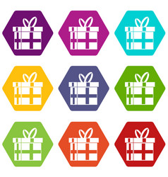 gift in a box icon set color hexahedron vector image