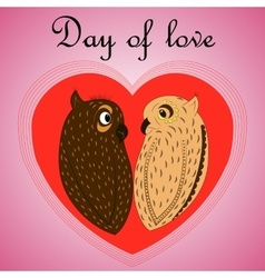 owl lovers on Valentines Day vector image vector image