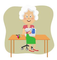 senior woman stitching fabric using sewing machine vector image
