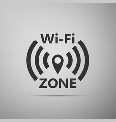 Wi-fi network flat icon on grey background vector