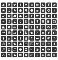 100 breakfast icons set black vector