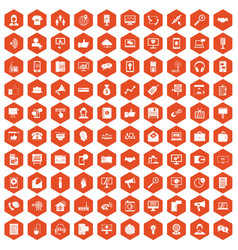 100 help desk icons hexagon orange vector