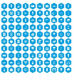 100 windmills icons set blue vector