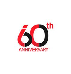 60 years anniversary logotype with black and red vector