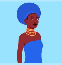 African woman in a traditional headdress zulu vector
