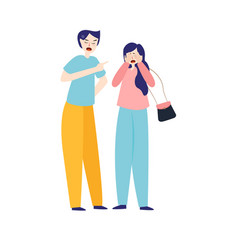 angry young couple fighting and shouting at each vector image