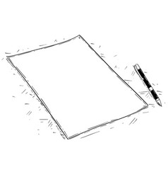 Artistic drawing of empty or blank piece of paper vector