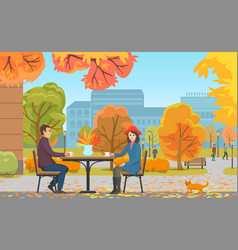 Autumn park and couple drinking coffee near cafe vector