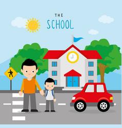 back to school boy crosswalk road cartoon vector image