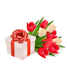 background with gift box and flowers vector image