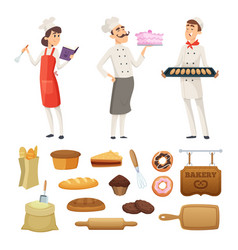 Bakers male and female at work characters vector