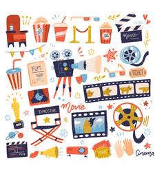 big set icons on movie or cinema theme making vector image