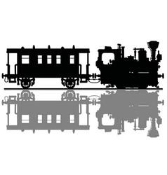 Black silhouette of a vintage steam train vector