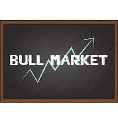 Bull market on chalk board vector