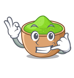 Call me matcha powder in isolated with mascot vector