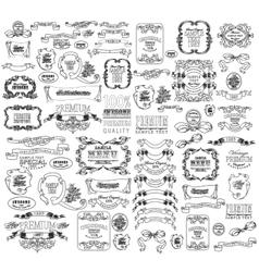 Calligraphic floral design elements vector