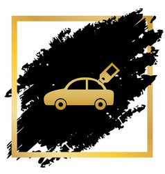 Car sign with tag golden icon at black vector
