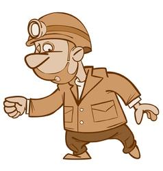 cartoon man miner goes vector image