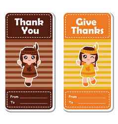 Cartoon with cute indian girls on striped vector