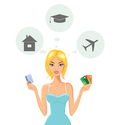 cheerful young woman with credit cards vector image