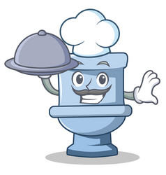 chef with food toilet character cartoon style vector image