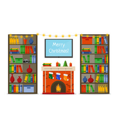 christmas room interior christmas fireplace with vector image