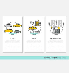 City transport business brochure template linear vector