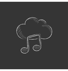 Cloud music Drawn in chalk icon vector