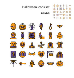 collection halloween silhouettes icon ghost vector image