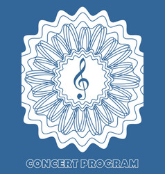 Concert program cover template with treble clef vector