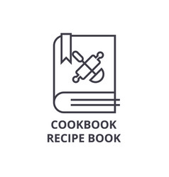 Cookbook recipe book line icon outline sign vector