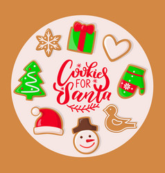 cookie for santa claus sweets christmas holiday vector image
