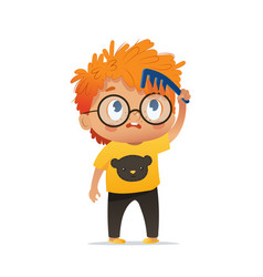 cute kindergarten red head vector image
