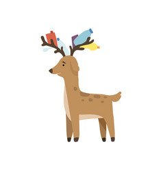 Deer with plastic trash in its horns global vector
