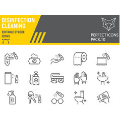 Disinfection line icon set cleaning symbols vector