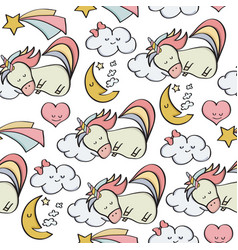 doodle seamless pattern with unicorns and other vector image