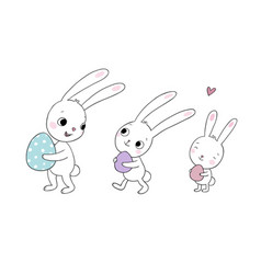 Easter bunnies cute cartoon hares with eggs vector