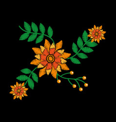 embroidery with flowers textile traditional vector image
