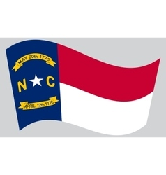 Flag of North Carolina waving on gray background vector image