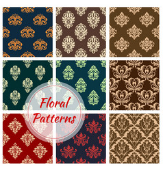 floral ornament seamless patterns set vector image