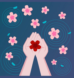 flowers floating in water flower in hand vector image