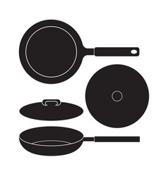 Frying pan icon flat sign vector