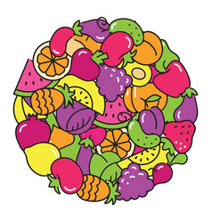 Fun image of vegetables and fruit in the form of a vector