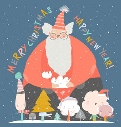 funny santa claus with winter trees merry vector image