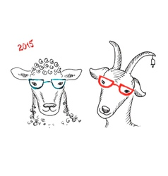Goat and sheep with glasses vector
