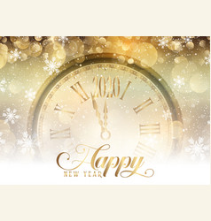 Gold happy new year with clock design vector