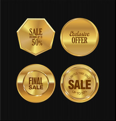 golden metal badges collection 2 vector image