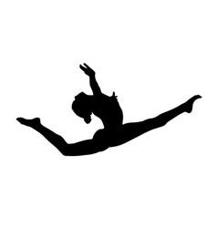 Graceful split leap female gymnast vector